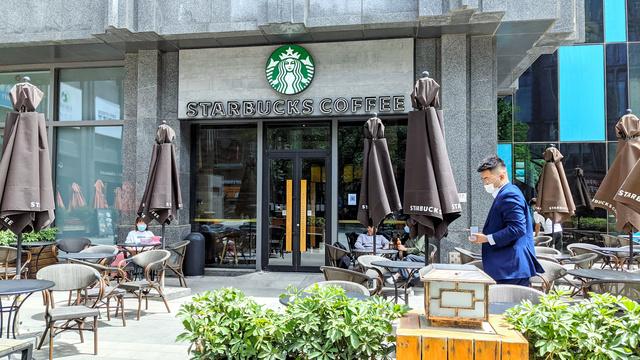 中国にあるスターバックスの店舗=2021年5月8日、北京市、西山明宏撮影