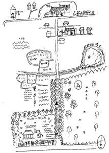 角野さんが描いた『トンネルの森 1945』の舞台の地図=KADOKAWA提供