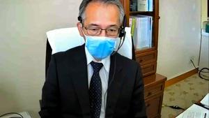 オンラインで取材に応じる土岐祐一郎・阪大病院長