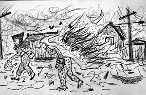 空襲の記憶を描いた春日一彦さんの絵。かぶった布団に引火していることに気づかず、逃げるお年寄り=春日さん提供