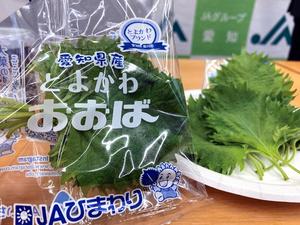 家庭用の10枚入りパックの豊川産大葉。葉にしわが少なく、香りがよいのが特長だ