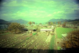 一瞬で魅了されたという車窓の風景=1976年、韓国慶尚北道の鳳陽面付近。藤原新也さん撮影