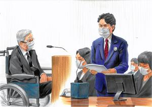 飯塚幸三被告(左)に質問する遺族の松永拓也さん(右)=2021年6月21日、東京地裁、絵と構成・小柳景義