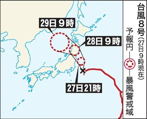 台風8号(27日午前9時現在)