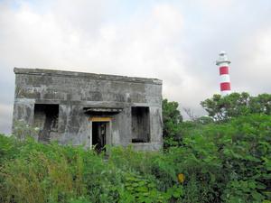 利尻島の旧鬼脇村石崎地区の灯台近くに残る海底ケーブルの陸揚庫=北海道利尻富士町、同町教育委員会提供