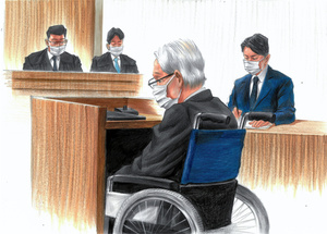 判決を聞く飯塚幸三被告(中央)。右は妻子を亡くした松永拓也さん=2021年9月2日、東京地裁、絵と構成・小柳景義