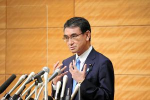 会見で自民党総裁選への立候補を表明する河野太郎行政改革相=2021年9月10日午後4時2分、国会内、上田幸一撮影