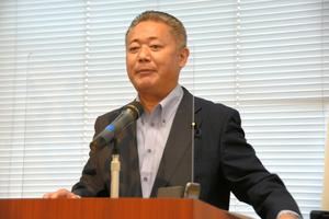 記者会見する日本維新の会の馬場伸幸幹事長=2021年9月15日午後、国会内、横山翼撮影