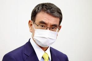 自民党の河野太郎氏=2021年9月15日午後5時、国会内、上田幸一撮影