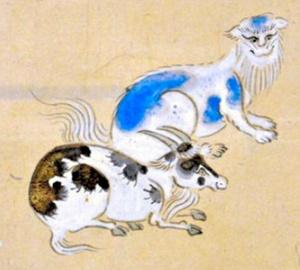 涅槃図の猫(右)=小綱町文化財保存会提供