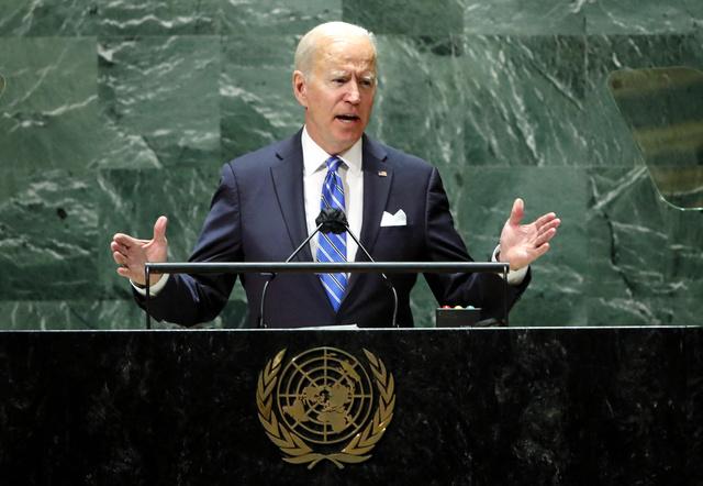 ニューヨークでの国連総会で21日、一般討論演説をするバイデン米大統領=AFP時事