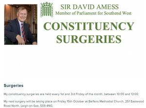 刺殺された英下院議員デビッド・エイメス氏のウェブサイト。定例の対面会合の開催日時のほか、予約を入れる際の連絡先を告知していた