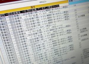2回目のみが接種されているなど、データに誤りがあることを知らせるVRSの機能の画面。デジタル庁が自治体向けに追加した=2021年10月8日、埼玉県戸田市