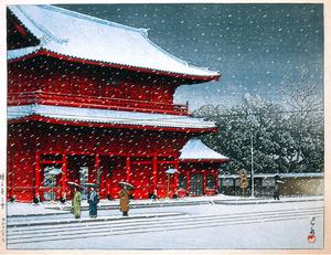 「増上寺之雪」=いずれも渡邊木版美術画舗蔵