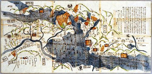 天然ダムの崩壊による洪水や、大規模な火災、斜面崩壊が描かれた絵図=東京大大学院情報学環所蔵「信濃国大地震火災水難地方全図」