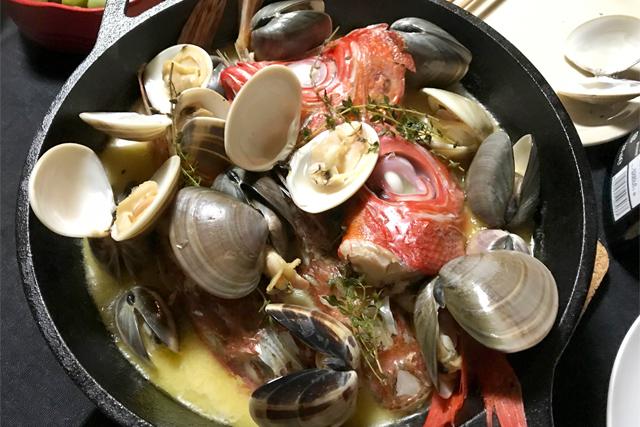 地魚の簡単アクアパッツァとリゾット