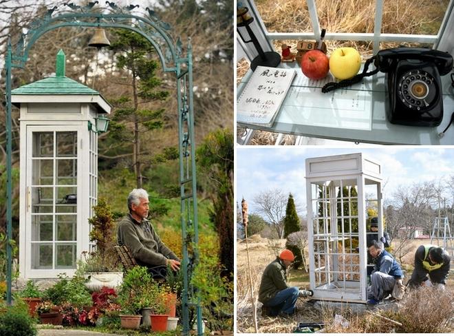 「風の電話ボックス」近くのベンチに座る佐々木格さん=2011年5月4日、岩手県大槌町、仙波理撮影