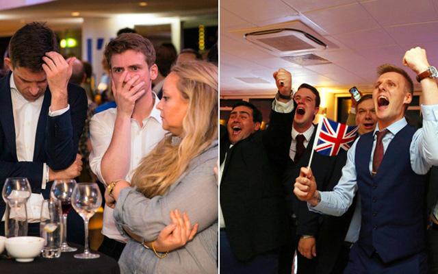 左:英ロンドンで24日、国民投票の開票速報を聞き、顔を手で覆う残留支持者=AP、右:英国旗を手に、国民投票の途中経過に歓声を上げる離脱支持者たち=AFP時事